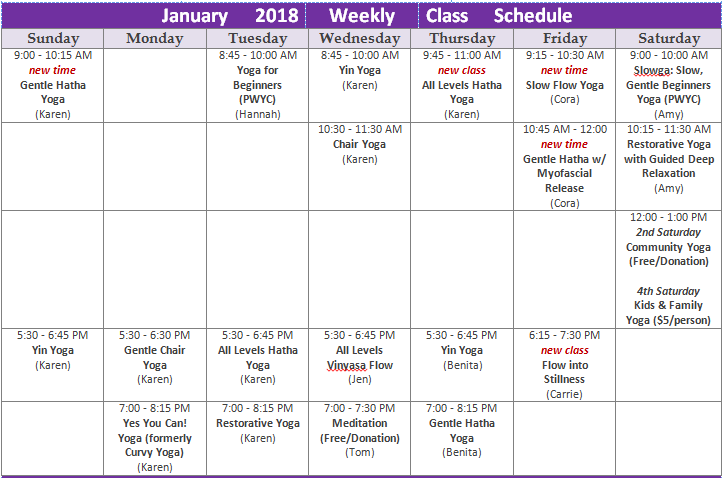 January 2018 drop-in class schedule