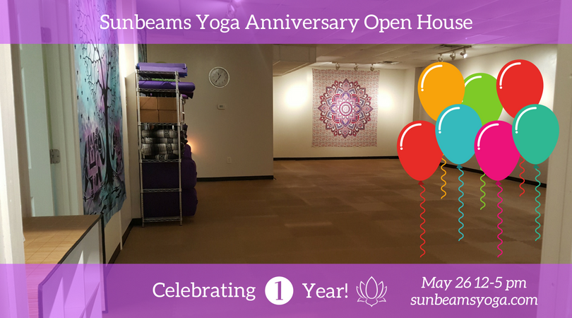 Anniversary Open House at Sunbeams Yoga Ruckersville VA May 26 12-5 p.m.